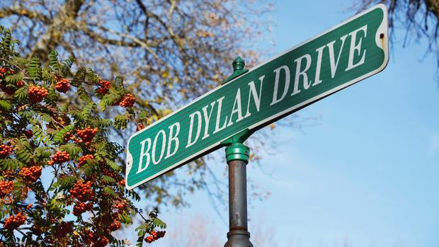A street sign in the childhood hometown of Bob Dylan, winner of the 2016 Nobel Prize for Literature, is seen in Hibbing, Minnesota